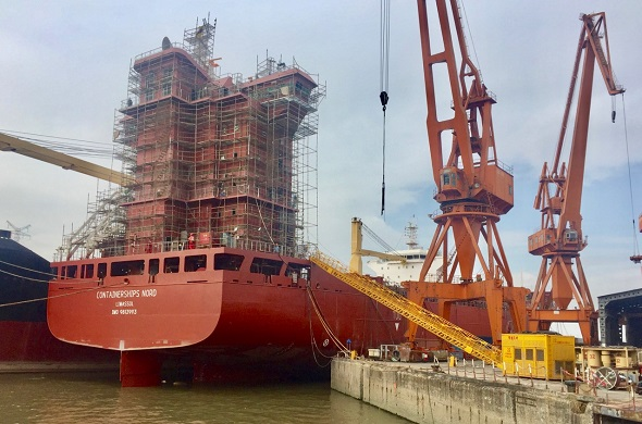 Containerships launch first LNG-fuelled container vessel