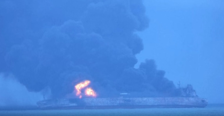 Sinking Iranian tanker causes oil slick at size of Paris