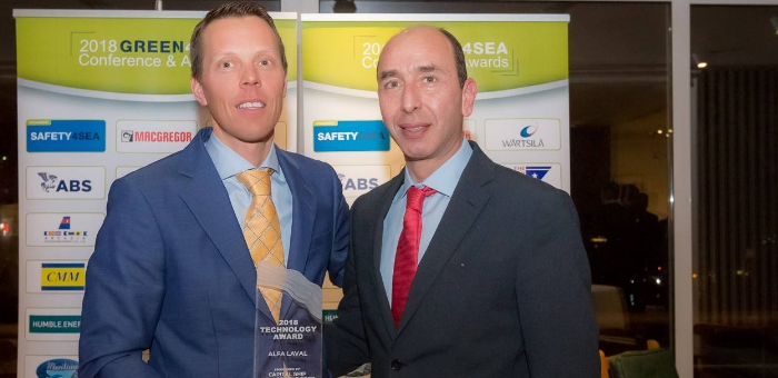 Alfa Laval receives the 2018 GREEN4SEA Technology Award