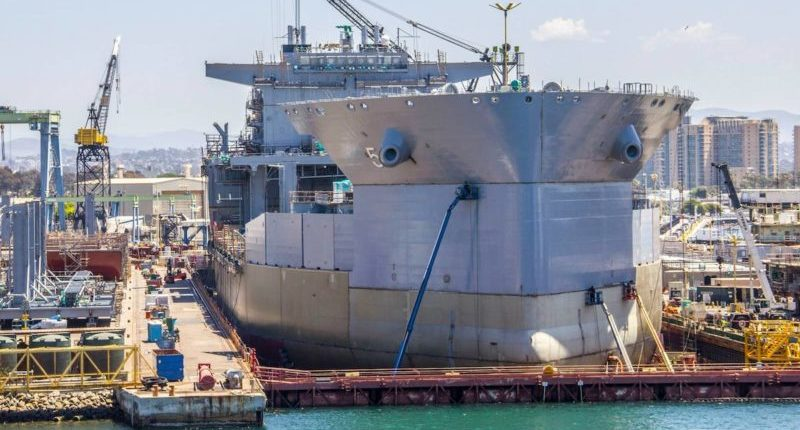 NASSCO dry dock containing a US navy newbuild gives way