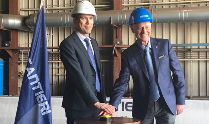 First steel cut for Windstar's ship lengthening and engine replacement project