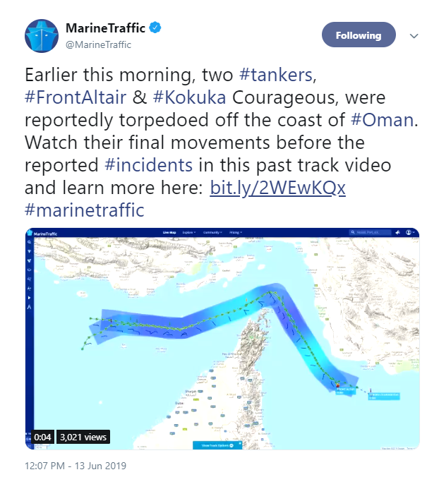 Oil tankers struck in suspected attacks in Gulf of Oman