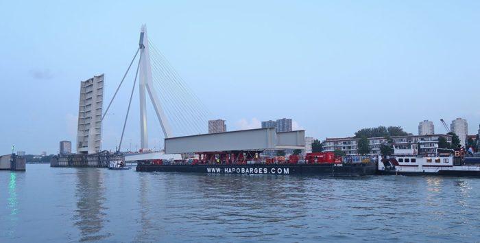 Bridge parts transported for second arch bridge at Port of Rotterdam